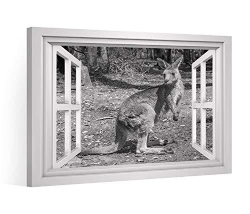 Vensterblik canvas foto zwart XXL kangoeroeoe-Australië canvas foto fotos op doek brancard 9CE945, canvas maat:120x80cm