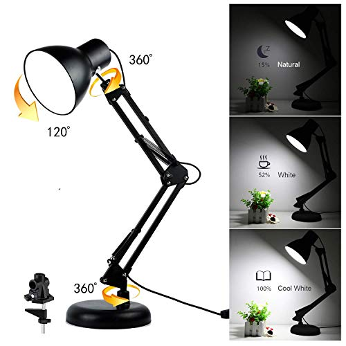 Swing Arm Desk Lamp - Dimmable LED Bulbs Included - with Base & Clamp, Eye-Care Metal Multi-Joint Architect Adjustable Table Light for Office Drafting Reading Work Task, Dimmer Switch USB Light