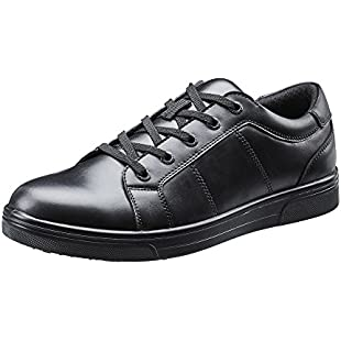 TREADS Kids School Shoes Children's Black Leather 12 Month Indestructible Guarantee, Lace up Formal Footwear with Adjustable Width 'Dual Fit' Technology, Perfect for Active Boys Brooklyn UK 7:Cnsrd