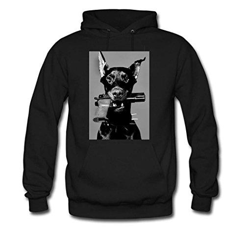HKhoodies Doberman Custom Men's Hoody Hoodie Hooded Sweatshirt (Black)