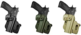 Hand Gun Polymer Retention Roto Holster Fits CZ 75/75B COMPACT/75B OMEGA (9mm/.40) with detachable magazine pouch. Black IMI RSR Defence Gun / Pistol Holster