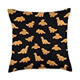 Vaporwave Aesthetic Text Gift Chicken Nuggets Pattern | Funny Realistic Dino Black Throw Pillow, 18x18, Multicolor