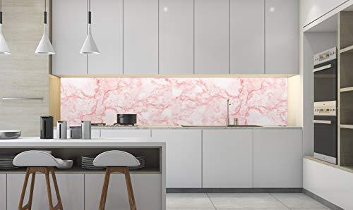 Oedim Decoración Pared Cocina Imitación Mármol Rosa   Vinilo Ecológico   Panelado en Vinilo Laminado   Pared de Cocina   350 x 60 cm  ...