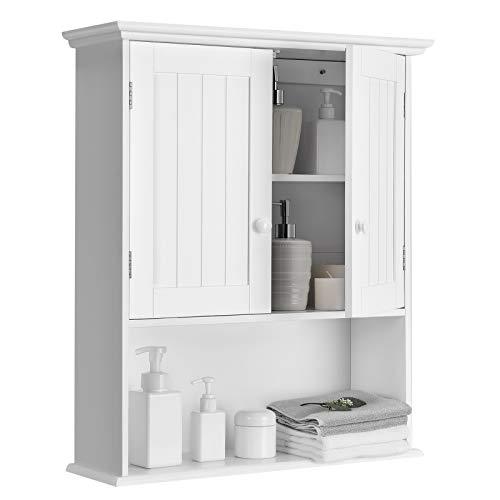 COSTWAY Armario de Pared Estanterías Mueble de Baño Gabinete con Puerta y Estante para Cocina Dormitorio Salón (Blanco)