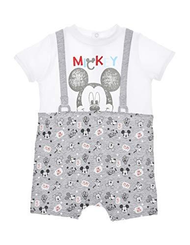 Barboteuse Trompe-Oeil bébé garçon Mickey Blanc/Gris de 6 à 24mois - Blanc/Gris, 24 Mois