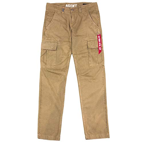 ALPHA INDUSTRIES Agent Pant Cargohose Baumwolle Flache Taschen, Farbe:Khaki, Groesse:33