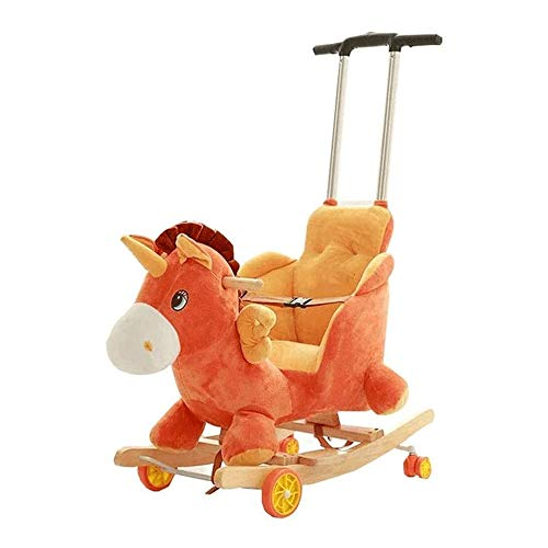 XWX Children's Rocking Horse Hölzernes Pferd Massivholz Schaukelstuhl Pädagogisches Spielzeug Mit Musik Baby Geburtstagsgeschenk