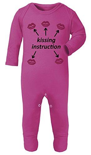 Couleur Mode Double Face Baiser Instruction Bébé Costume Pyjama Footies 100% Coton Hypoallergénique - Rose - S