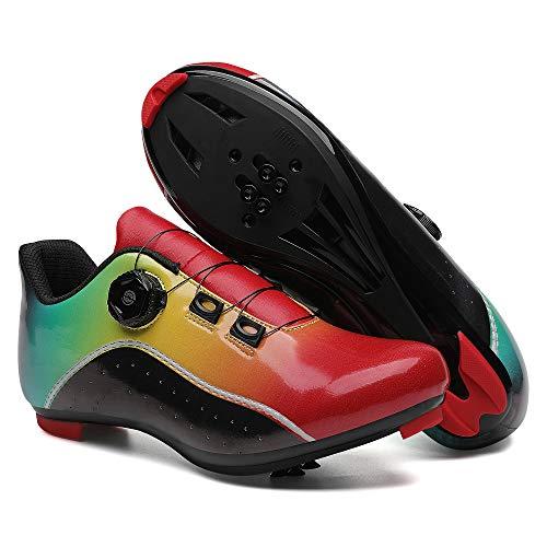 KUXUAN Zapatillas de Ciclismo para Mujer Hombre Carretera SPD Bike Zapatillas de Ciclismo Spin Shoestring con Compatible SPD Look Delta Cycle Riding Cleat Peloton,Red-13UK=(285mm)=47EU