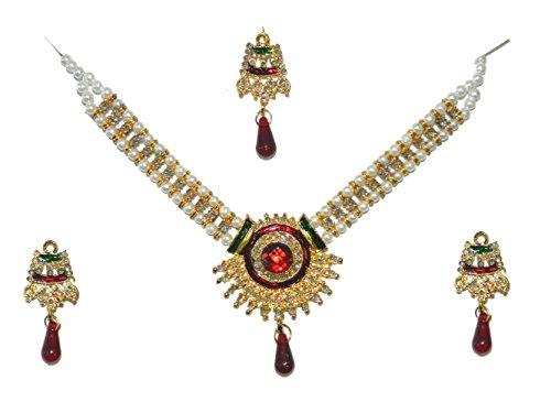 Bollywood Set Rani Sunflower weiße Perlen rote Steine und Glitzer indisches Schmuck-Set