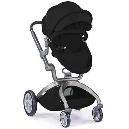 Hotmom Kinderwagen 3 in 1/Komplett/Set mit Babywanne, Buggy mit Sitz und Babyschale rosa (schwarz)