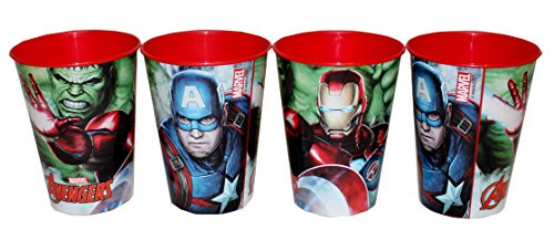 Marvel Avengers Lot de 4 gobelets à jus à l'effigie de Hulk, Iron Man, Captain America