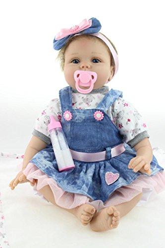 ZIYIUI Lifelike 22 inch 55 cm Reborn Babypuppe Mädchen Lebensechte Newborn Soft Silikon Spielzeug Puppe Realistische Kind Geburtstagsgeschenk