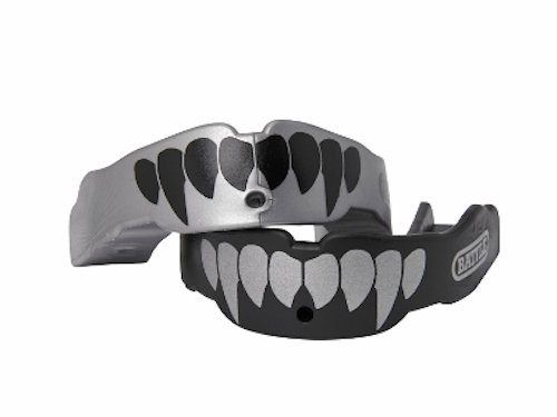Battle Fangs Football Mouthguard – Sports Mouth Guard with Removable Strap – Protector Mouthpiece Fits With or Without Braces on Teeth – Adult & Youth Mouth Guard Sizes, 2 Pack, Youth (Age 9 & Below), Silver/Black