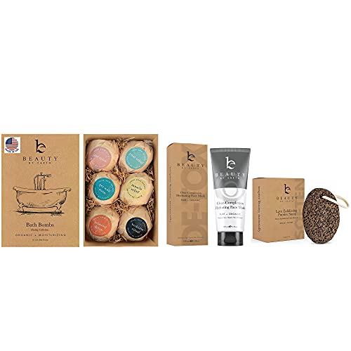 Bath Bombs Set - Organic Shea Butter, Best Spa Gift Set for Her or Him, with Salts, Clays & Essential Oils - Pumice Stone for Feet - Callus Remover - Hydrating Face Mask, Pore Cleaner and Minimizer