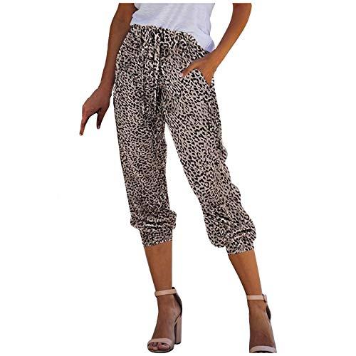 Lazzboy Strandhose Damen Leopard/Snake Active Elastic Waist Workout Jogginghose Pocket Freizeithosen Haremshose Yogahose Große Sporthose Trainingshose Mit Taschen (Braun,XL)