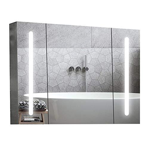 KCCCC Baño con Espejo de gabinete Encendido LED Gabinete de Cuarto de baño Botiquín con Espejo Empotrado o de Superficie Monte...