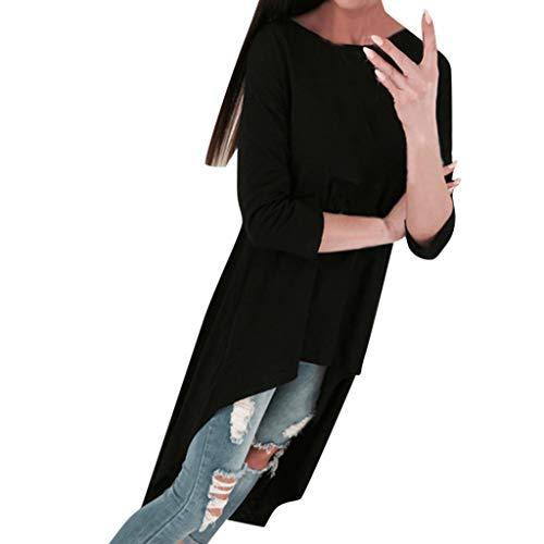 SALUCIA Damen Vokuhila Rundhals Langarm Unifarben Shirt Langarmshirt Longbluse Blusen Tunika Tops Oberteil