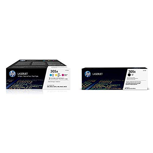 HP 305A 3er-Pack (CF370AM) Blau/Rot/Gelb Original Toner für HP Laserjet Pro M351, M375nw, M451, M475 + HP 305X (CE410X) Schwarz Original Toner mit hoher Reichweite