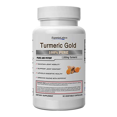 Superior Labs | Organic Turmeric Curcumin (95% curcuminoids) with BioPerine | Pure NonGMO 1500mg (Organic Blend) | Zero Synthetic Additives - Powerful Formula Joint, Knees, Hips, Immune,