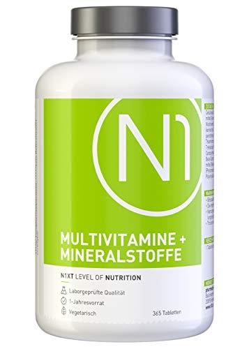 N1 Multivitamin Tabletten hochdosiert - Alle Vitamine + Mineralien - 365 Tabletten 1-Jahresvorrat - Nahrungsergänzungsmittel - Vitamin Tabletten / Supplements - Vegetarisch, laktosefrei & glutenfrei