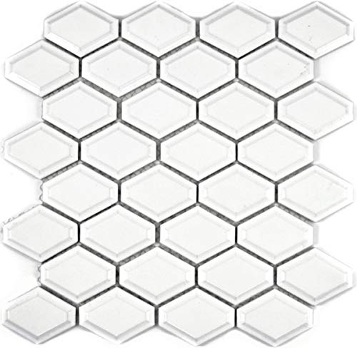 Mozaïek tegel keramiek diamant metro wit mat tegelspiegel keuken MOS13MD-0111_f | 10 mozaïekmatten