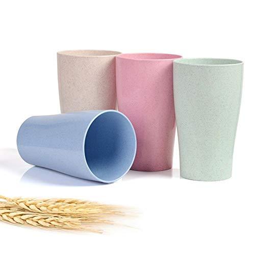 Vasos de trigo ligeros degradables, no tóxicos, pies antideslizantes, sin BPA y saludables para niños, apto para lavavajillas, juego de 4 unidades, multicolor, 13 onzas