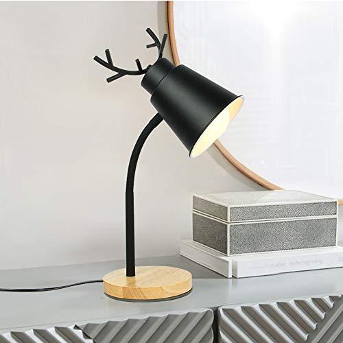SUNA Lampe De Table Décorée Pour La Chambre à Coucher, Lampe De Table En Bois Antler En Métal Lampe à œil E27 [Classe énergétique A]