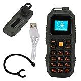 電話| BM60ミリタリーイヤーマウントバーフォンミニヘッドセット携帯電話サポートNanoSIMカード、高齢者、学生、多言語対応、32MB + 32MB0.66インチ。(緑)