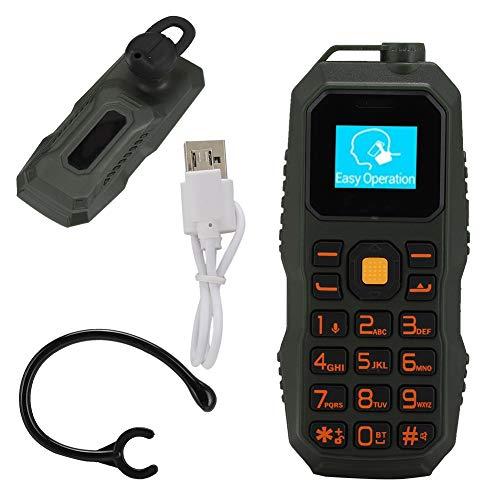 Teléfono Móvil Desbloqueado, Mini Auricular Militar BM60 Montado en la Oreja 32MB + 32MB 0.66in Bar Soporte para Teléfono Tarjeta Nano SIM(Verde)