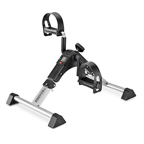 TECHMOO Exercise Bikes Physical Therapy Leg Exercisers Sport Foldable Pedal Exerciser, Stationary Under Desk Exercise Equipment Arm/Leg/Foot Peddler Exercise with LCD Monitor(Black)