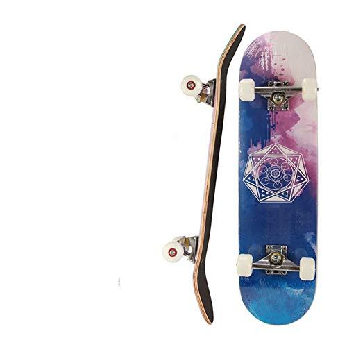 Skateboard Grip Tape Skateboards,Standard Skateboards for Beginners Kids Boys Girls Teenager,Canadian Maple Cruiser Skate Board, Including Truck, PU Wheels, Back Pattern for Skateboard,Rollerboard,Sc