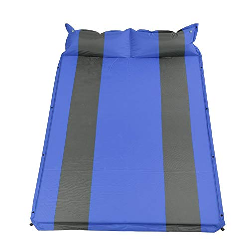 Greensen Inflatable Sleeping Mat, 750D Polyester Camping Mattress, Portable & Folding Double Self-Inflating Mattresses, Outdoor Sleeping Bed Mat Roll for Camping Hiking Traveling Home (Blue)
