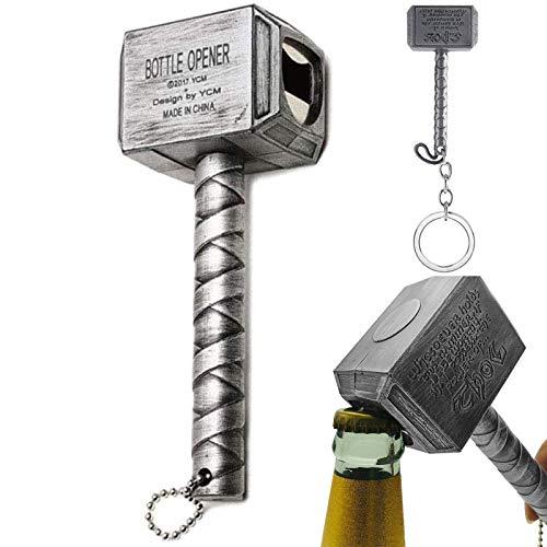 Thor Hammer Birra Apribottiglie & Mini martello Portachiavi, Mjolnir Quake Birra opener, regalo perfetto per gli amanti della birra, La barra deve essere un artefatto 2Pcs