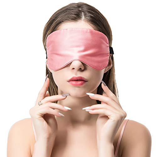 Schlafmaske Augenmaske Seide Damen Und Herren-Verstellbares Elastikband natürlich 100{7e018bb7838057217cb9012132a5be417ff8d738dcc617f234a71fbfa9255a61} Maulbeere seide Augenbinde bequeme und weiche Schlafbrille Atmungsaktiv für Reise Zuhause Rosa von COLD POSH