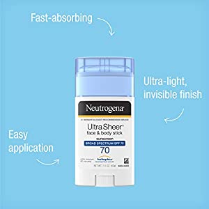 Neutrogena Ultra Sheer Non-Greasy Sunscreen Stick for Face & Body, Broad Spectrum SPF 70, 1.5 oz