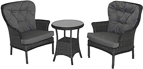 2 Rattan armchairs and a Small Glass Table Set Cushion Dust Armchair Garden Terrace Greenhouse Greenhouse Leisure Furniture,Grey