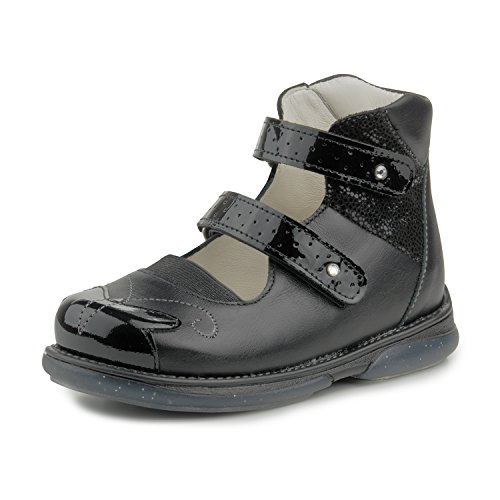 Memo Princessa Corrective Orthopedic Leather Mary Jane AFO Shoes, Black, 33, (2.5 M US Big Kid)