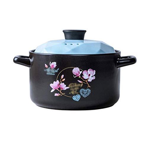 YWSZJ La cerámica de la cazuela, Plato de la cazuela con Tapa, se adhieren for no Pan de cerámica Sopa de Olla a refractario al Calor en la Cocina casera 4L (Color : Blue)