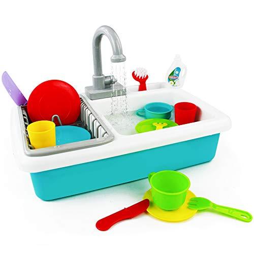Küchenspielzeug Geschirrspülszene Kinderküche Zubehoer Spielküche Zubehör Kinderspielzeug Rollenspiel 3 4 5 Jahren, 19 Stück