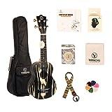 YOSENG Satin Cow Wood Ukulele Starter Kit with Aquila Strings, Tuner, Padded Gig Bag (Soprano, Cow Wood)