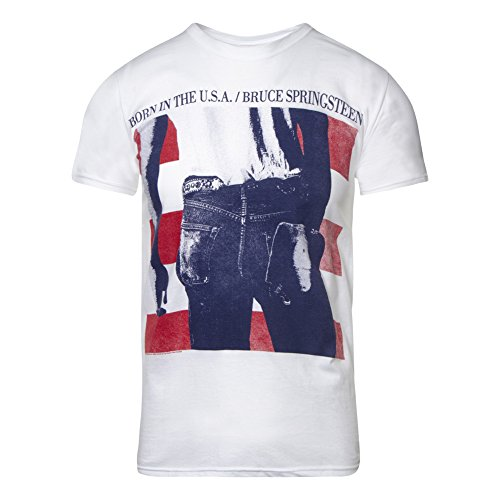 CID Herren Bruce Springsteen - Born In The Usa T-Shirt, weiß, XL