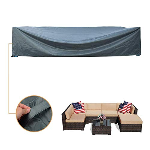 Coismo 126'x63'x28' Extra Large and Durable Patio Furniture Cover for 7pcs Wicker Furniture Set, Waterproof
