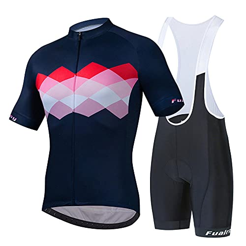 HXTSWGS Conjunto de Jersey de Ciclismo para Hombre, Pantalones Cortos de Ciclismo de Manga Corta, Traje de Ciclismo Acolchado, Ropa para Montar en Bicicleta, Ropa de Ciclo-C_4XL