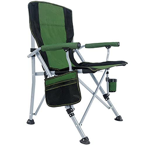 Lamberia Folding Camping Chair for Adults Heavy Duty 330 LBS Capacity Outdoor Camp Chair Thicken 600D Oxford Mesh Back Quad with Arm Rest Cup Holder and Portable Carrying Bag(Green)