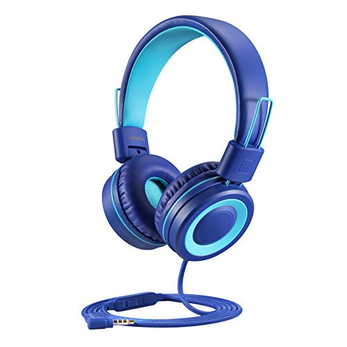 POWMEE P10 Kids Headphones with Microphone Stereo Headphones for Children Boys Girls,Adjustable 85dB/94dB Volume Control Foldable On-Ear Headphone with Microphone for School/PC/Cellphone(Blue)
