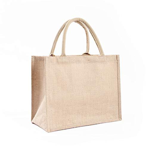 Sac en toile de jute naturelle- sac de rangement en toile de jute vintage et écologique- réutilisable et étanche-sac de pesée en toile de jute portable de grande capacité pour shopping pique-nique