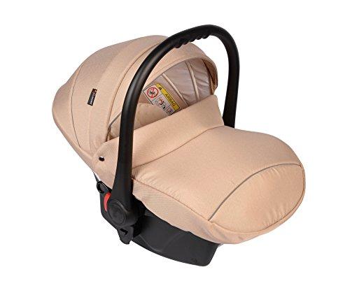 Clamaro Babyschale Auto 'JUNO black' ultraleicht 2,95 kg mit Anti-Shock Schaumstoff, Gruppe 0+ (0-13 kg) ECE-R 44/04 - Baby Autositz inkl. Sonnenverdeck und Fußabdeckung - Beige Leinen