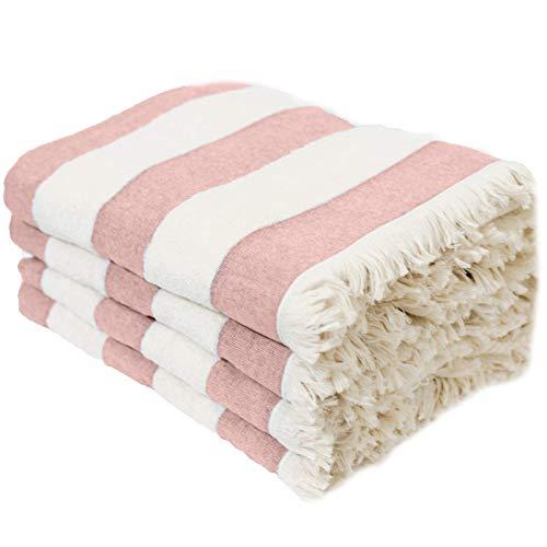 Set of 4 Turkish Beach/Pool Towel. 100% Organic Turkish Cotton, Stylish and Portable XL Design.