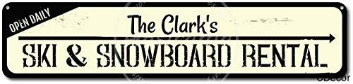 niet Ski & Snowboard Verhuur Open Dagelijkse Tin Wandbord Metalen Retro Poster Iron Waarschuwingsborden Vintage Opknoping Art Plaque Yard Garden Cafe Bar Pub Openbaar Gift 16X4 Inch